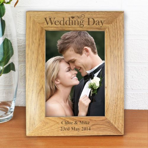 Personalised Wedding Day 6x4 Wooden Photo Frame